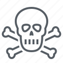 crossbones, danger, deadly, pirate, skeleton, skull icon
