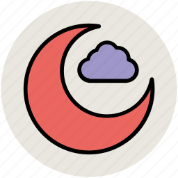 cloud, crescent moon, moon, nature, night, sky icon