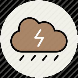 cloud, nature, raining, rainy weather, thunderbolt, thunderstorm, weather icon
