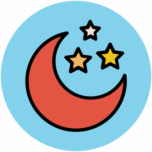 dark, evening, midnight, moon, night, nightfall, nighttime, stars icon