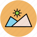 hill station, mountain, mountain range, nature, sun, sunset icon