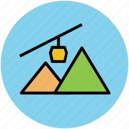 cable car, chair lift, hill station, mountain range, mountains, nature, summer vacations, winter vacations icon