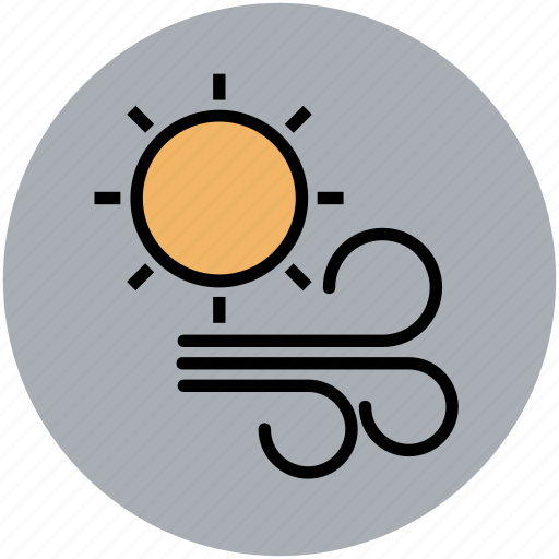sun, weather, weather outlook, weather prediction, winds, windy icon