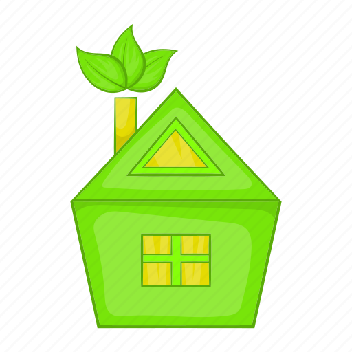cartoon, eco, ecology, green, home, house, sign icon