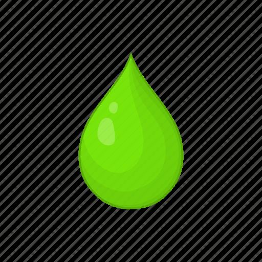 cartoon, drop, green, liquid, nature, sign, water icon