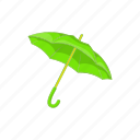 cartoon, green, protection, rain, sign, umbrella, weather icon
