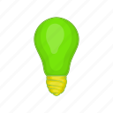 bulb, cartoon, eco, energy, idea, light, sign icon