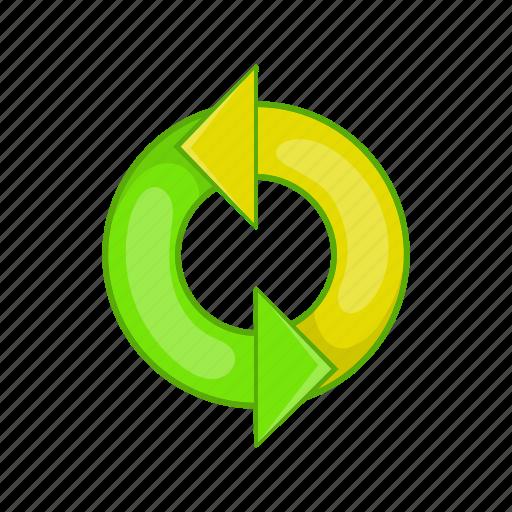 arrow, cartoon, environment, environmental, recycle, recycling, sign icon