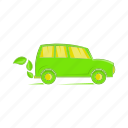 car, cartoon, eco, energy, fuel, power, sign icon