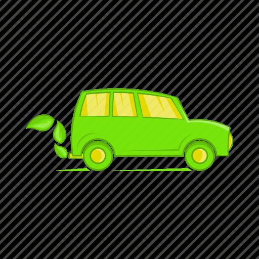 car, cartoon, eco, energy, fuel, power, sign icon