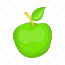 apple, cartoon, food, fruit, green, sign, tasty icon
