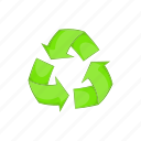 arrow, cartoon, environment, environmental, recycling, sign icon