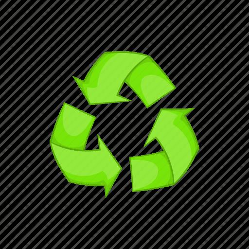 arrow, cartoon, environment, environmental, recycling, sign icon