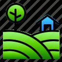 farm, green, landscpe, nature, view icon
