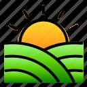farm, green, landscpe, nature, sunrise, view icon