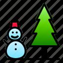 landscape, nature, pine, snow, snowman, winter