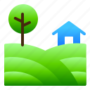 farm, green, landscpe, nature, view icon