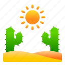 cactus, desert, landscape, nature, sun, view