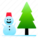 landscape, nature, pine, snow, snowman, winter icon