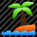beach, coconut, landscape, nature, sea, view