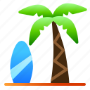 beach, coconut, landscape, nature, sea, surf, view icon