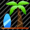 beach, coconut, landscape, nature, sea, surf, view
