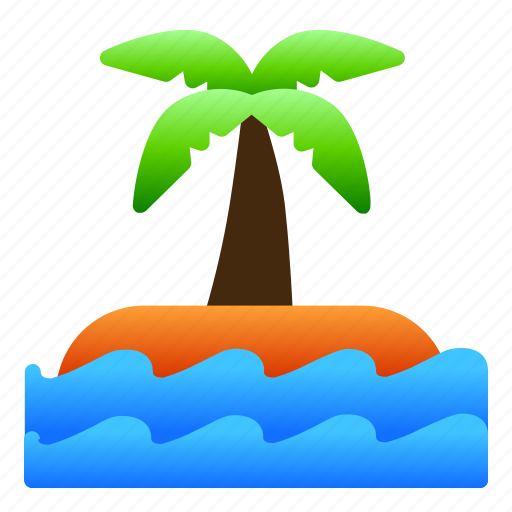 island, landscape, nature, sea, tree, view icon