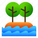 island, landscape, nature, sea, tree, view