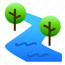 landscape, nature, river, view, water icon