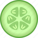 cucumber, cucumis, sativus, section, slice, vegetable, zucchini icon
