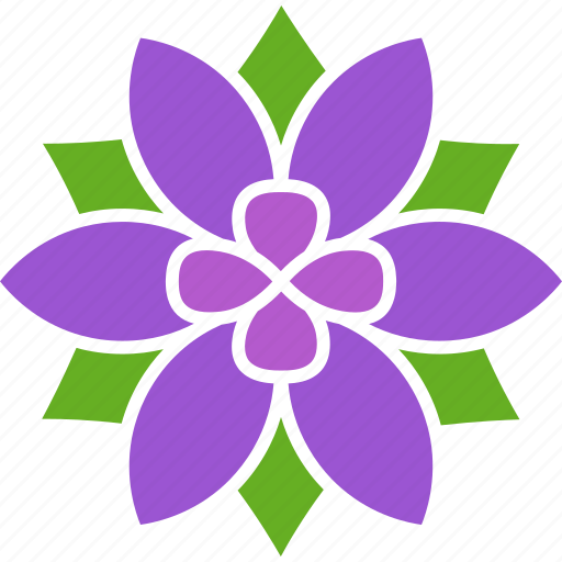 bloom, blossom, flower, petals, purple, six, violet icon