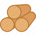 logs, lumber, rings, stack, timber, wood, wooden icon