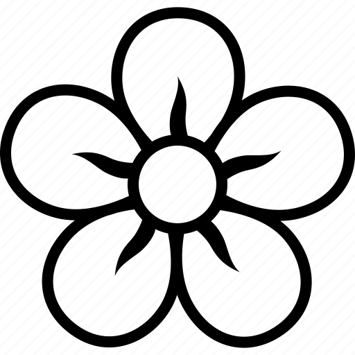 bloom, blossom, five, floral, flower, petals icon
