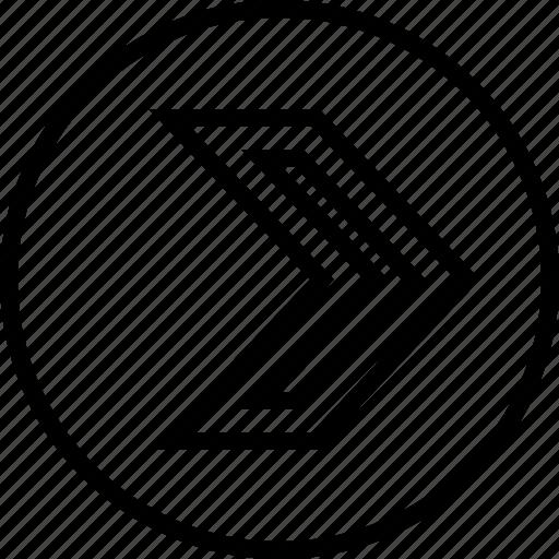 arrow, point, right, sleek icon
