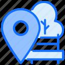 location, park, tree, navigation