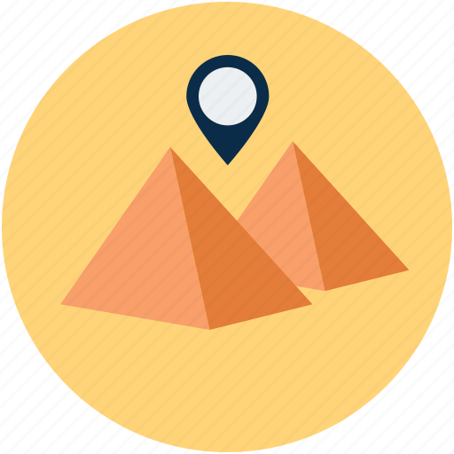 gps, location, pyramids, vacation icon