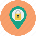 gps, locked location, secure, secure location icon