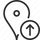 gps, increase, location, map, pin, up
