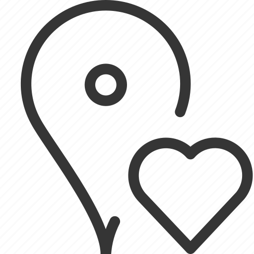 gps, heart, location, love, map, pin icon