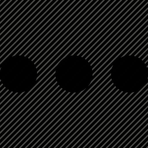aligned, dots, horizontal, more, navigation, option, three icon