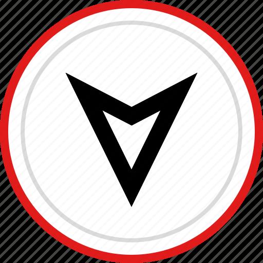 arrow, down, gps, point, pointer icon
