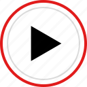 now, play, triangle, video icon