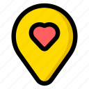 heart, location, love, map icon