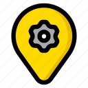 gear, location, map, settings icon