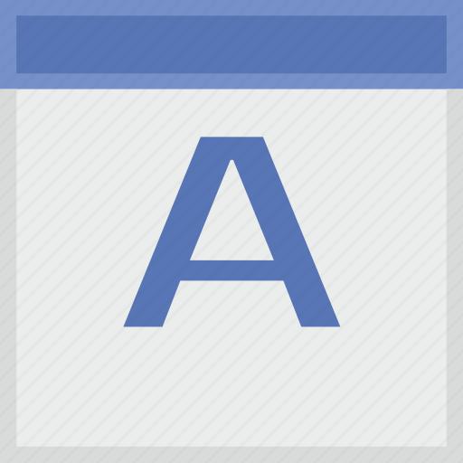 a, calendar, key, latin, letter icon