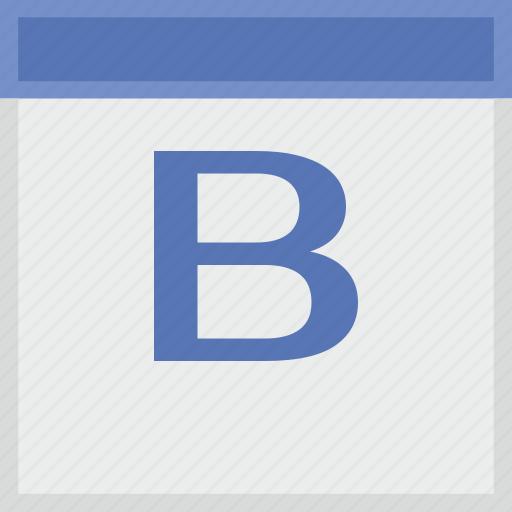 b, calendar, key, latin, letter icon