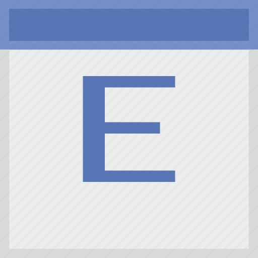 calendar, e, key, latin, letter icon