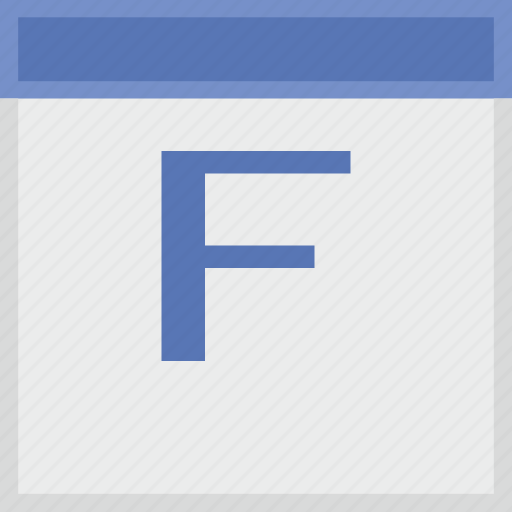 calendar, f, key, latin, letter icon