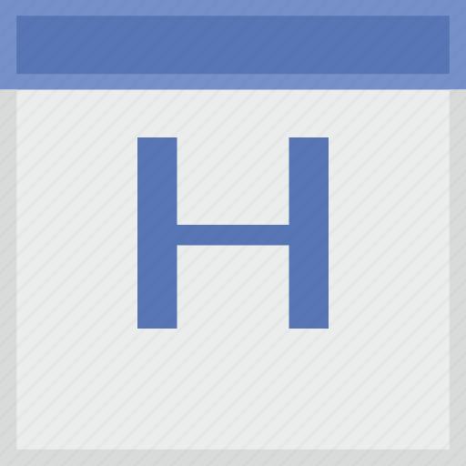 calendar, h, key, latin, letter icon