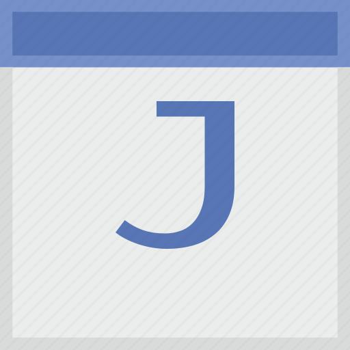 calendar, j, key, latin, letter icon